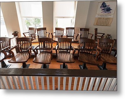 Jury Box In The Courtroom Of The Old Metal Print by Panoramic Images