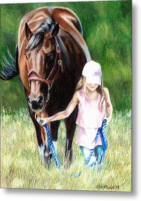 Just A Girl And Her Horse Metal Print