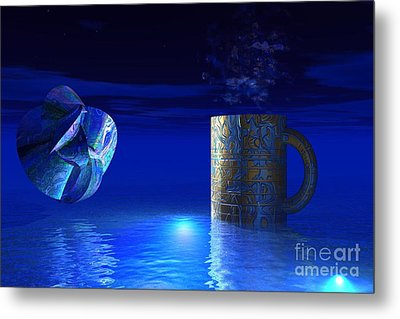 Metal Print featuring the digital art Just Blue by Jacqueline Lloyd