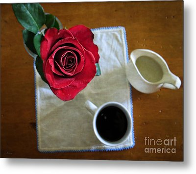 Just For You - Coffee And Red Rose - Still Life Photography Art Metal Print by Ella Kaye Dickey