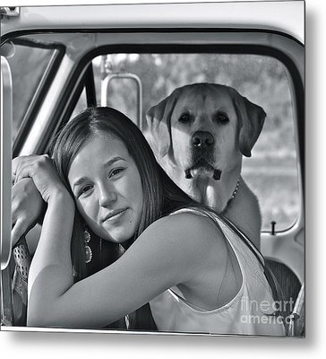 Just Me And My Dog Metal Print by Barbara Dudley