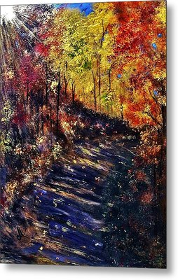 Metal Print featuring the painting Just The Sound Of The Forest... by Cristina Mihailescu