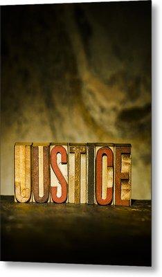 Justice Antique Letterpress Printing Blocks Metal Print by Donald  Erickson