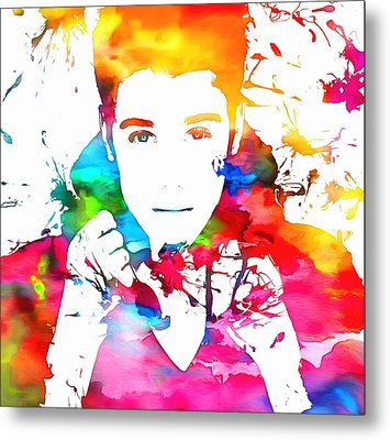 Justin Bieber Watercolor Paint Splatter Metal Print