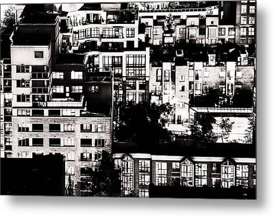 Metal Print featuring the photograph Black And White - Juxtaposed And Intimate Vancouver View At Night - Fineart Cards by Amyn Nasser