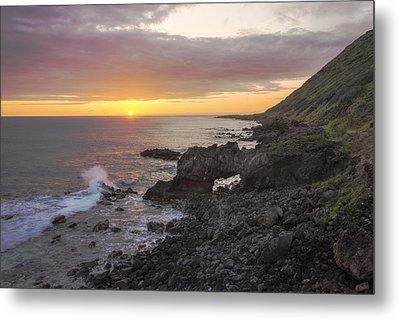 Kaena Point Sea Arch Sunset - Oahu Hawaii Metal Print by Brian Harig