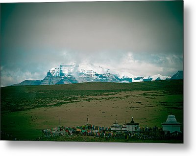 Kailas Mountain Home Of The Lord Shiva View From Manasarovar Metal Print