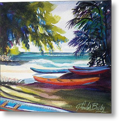 Kailua Beach Canoes Sold Metal Print by Therese Fowler-Bailey