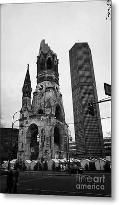 Kaiser Wilhelm Gedachtniskirche Memorial Church New Bell Tower And Christmas Market Berlin Germany Metal Print