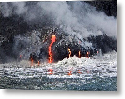 Lava Falls At Kalapana Metal Print by Venetia Featherstone-Witty