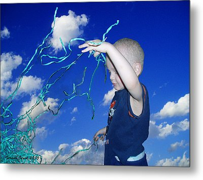 Kaleb Takes Over The World Metal Print by Verana Stark