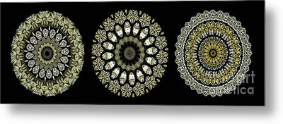 Kaleidoscope Ernst Haeckl Sea Life Series Steampunk Feel Triptyc Metal Print by Amy Cicconi