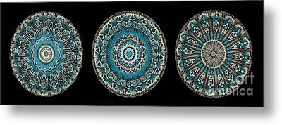 Kaleidoscope Steampunk Series Triptych Metal Print by Amy Cicconi