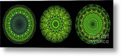 Kaleidoscope Triptych Of Glowing Circuit Boards Metal Print by Amy Cicconi