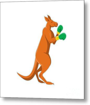 Kangaroo Boxer Boxing Retro Metal Print by Retro Vectors