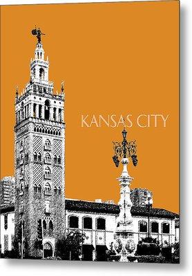 Kansas City Skyline 2 - Dark Orange Metal Print