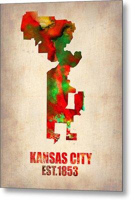 Kansas City Watercolor Map Metal Print