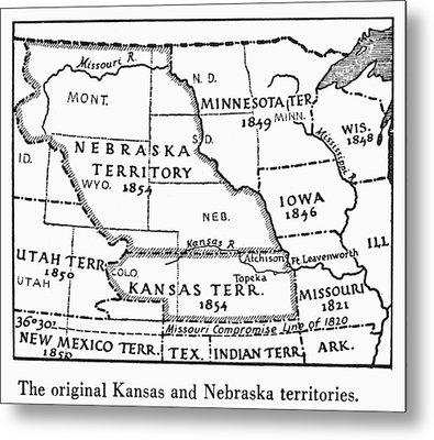 Kansas-nebraska Map, 1854 Metal Print by Granger