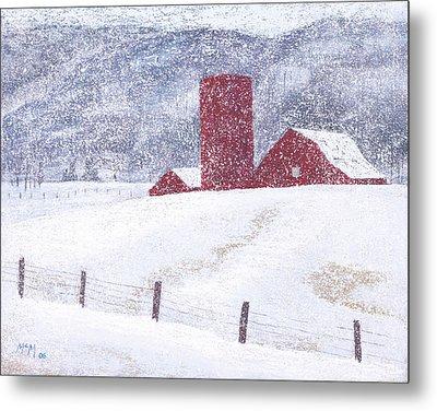 Kansas Snow Storm Metal Print by Garry McMichael