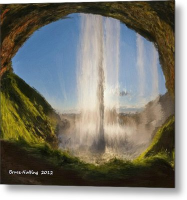 Metal Print featuring the painting Karen's Waterfalls by Bruce Nutting