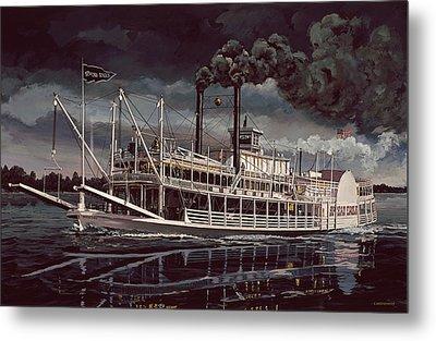 Spread Eagle Steamboat Night Metal Print by Don  Langeneckert