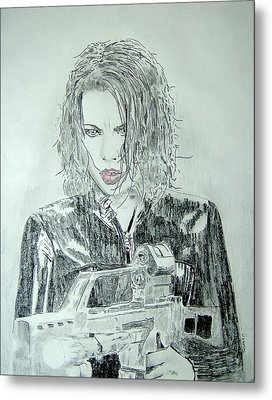 Kate Beckinsale Underworld Drawing Metal Print