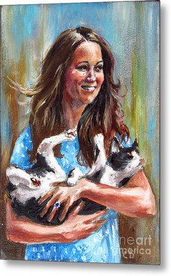 Kate Middleton Duchess Of Cambridge And Her Royal Baby Cat Metal Print by Daniel Cristian Chiriac