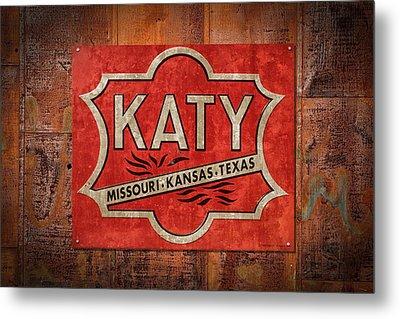 Katy Railroad Sign Dsc02853 Metal Print by Greg Kluempers