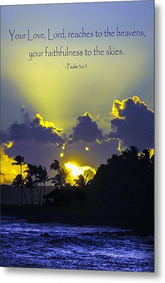 Kauai Sunset Psalm 36 5 Metal Print
