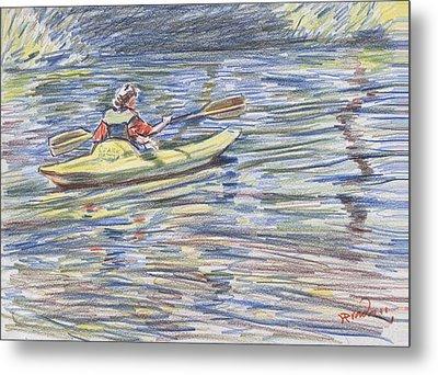 Kayak In The Rapids Metal Print by Horacio Prada