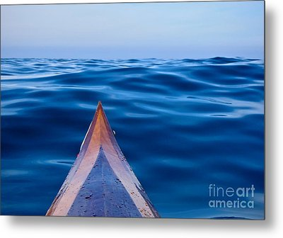 Kayak On Velvet Blue Metal Print by Michael Cinnamond