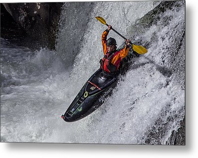Kayaker Metal Print by Debra and Dave Vanderlaan