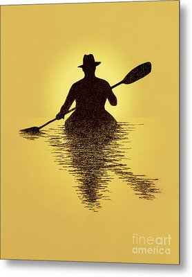 Kayaker Sunset Metal Print by Garry McMichael
