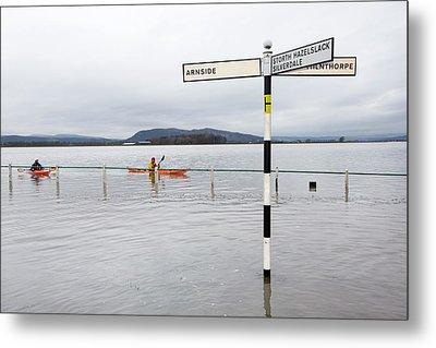 Kayakers In The Flood Waters Metal Print