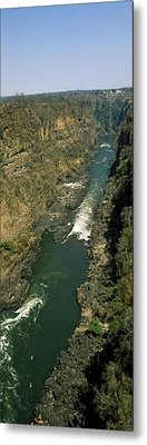 Kayakers Paddle Down The Zambezi Gorge Metal Print by Panoramic Images