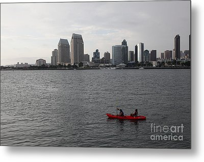 Kayaking Along The San Diego Harbor Overlooking The San Diego Skyline 5d24376 Metal Print by Wingsdomain Art and Photography