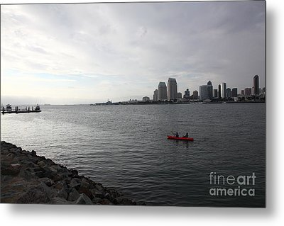 Kayaking Along The San Diego Harbor Overlooking The San Diego Skyline 5d24377 Metal Print by Wingsdomain Art and Photography
