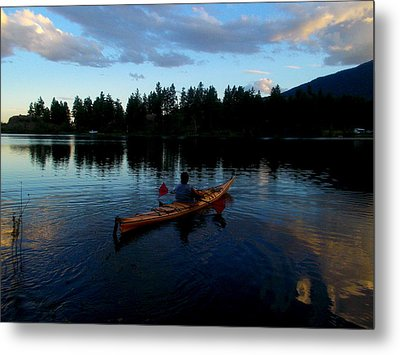 Kayaking Sunset Metal Print