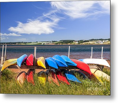 Kayaks At Atlantic Shore  Metal Print by Elena Elisseeva