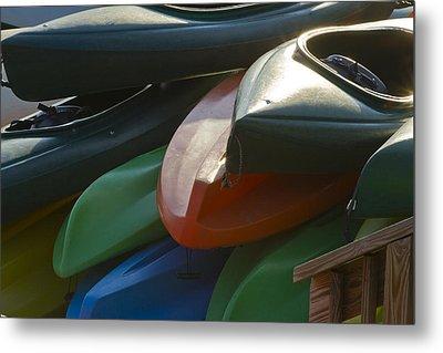 Kayaks For Rent Metal Print by Arthur Dodd
