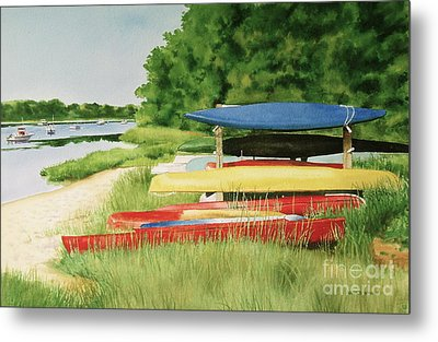 Metal Print featuring the painting Kayaks In Limbo by Karol Wyckoff