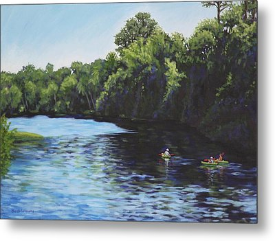 Kayaks On Rainbow River Metal Print by Penny Birch-Williams