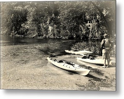 Kayaks On The Current Metal Print by Marty Koch