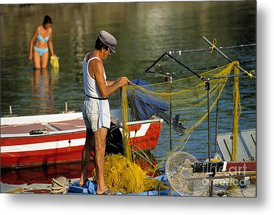 Fisherman In Kea Island Metal Print by George Atsametakis