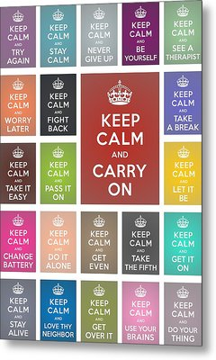 Keep Calm Classic Collage Metal Print by Helena Kay