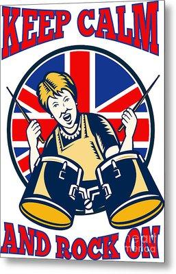 Keep Calm Rock On British Flag Queen Granny Drums Metal Print by Aloysius Patrimonio