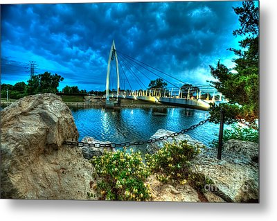 Keeper Of The Plains Bridge Metal Print by  Caleb McGinn