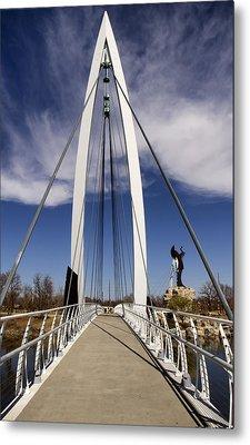 Keeper Of The Plains Bridge View Metal Print