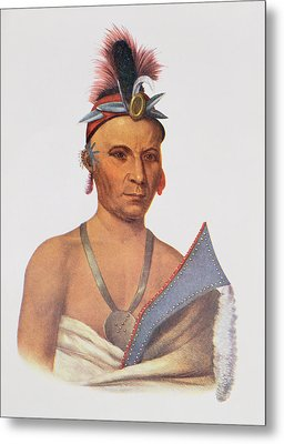 Keesheswa Or The Sun, A Fox Chief, C.1837, Illustration From The Indian Tribes Of North America Metal Print by Charles Bird King