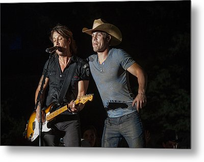 Keith Urban And Dustin Lynch Metal Print by Mike Burgquist